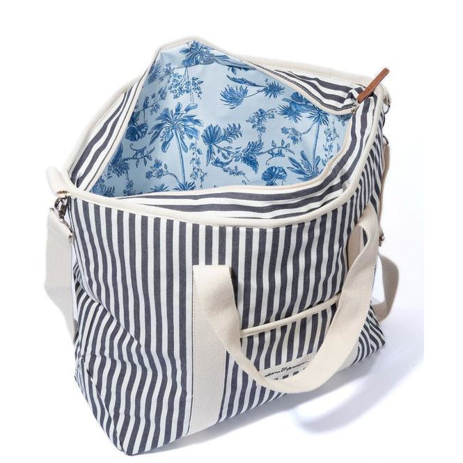 Insulated Cooler Tote Bag - Navy and White Stripe