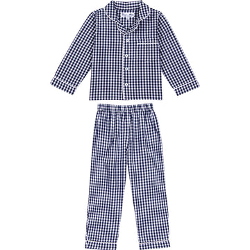 Boys Hepburn Gingham Navy PJ Set