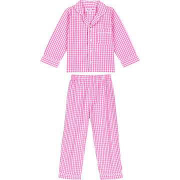 Girls Hepburn Gingham Pink PJ Set