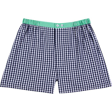 Men's Hepburn Gingham Navy Boxer Shorts