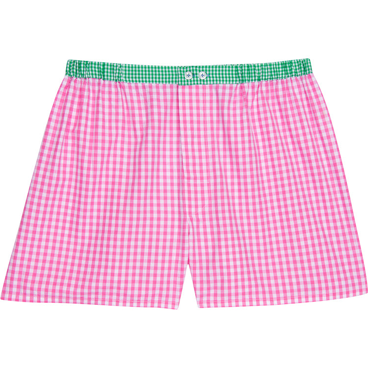 Men's Hepburn Gingham Pink Boxer Shorts