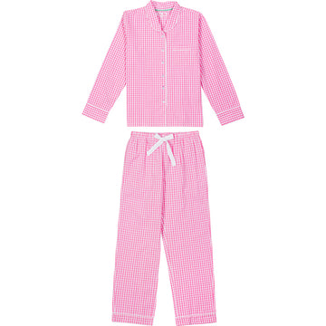 Women's Hepurn Gingham Pink Long PJ Set