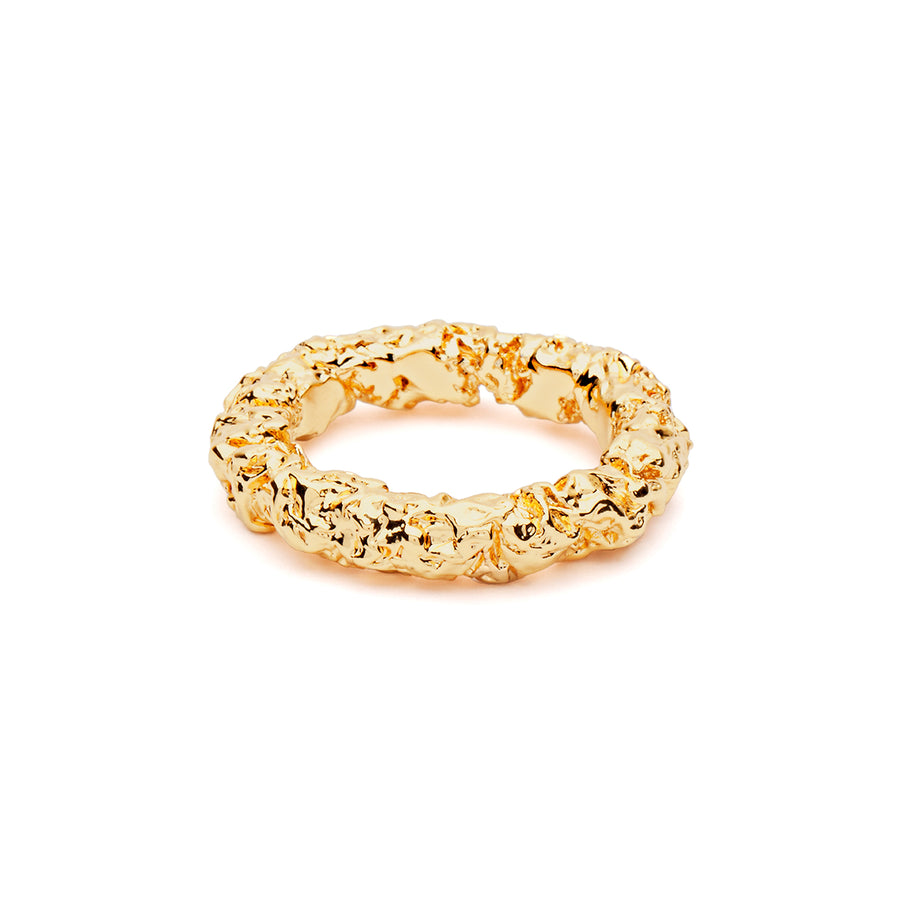 Thin Textured Gold Ring