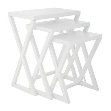 White Side Table Set of 3