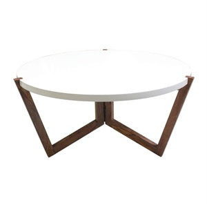 White Coffee Table With Wooden Legs