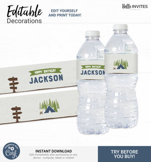 Camp Editable Water Bottle Wrapper Printable DIY Decorations