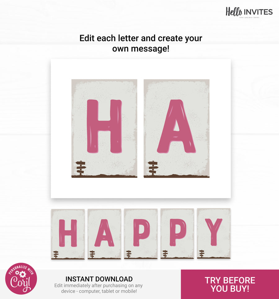 Camp Editable Happy Birthday Banner Printable DIY Decorations