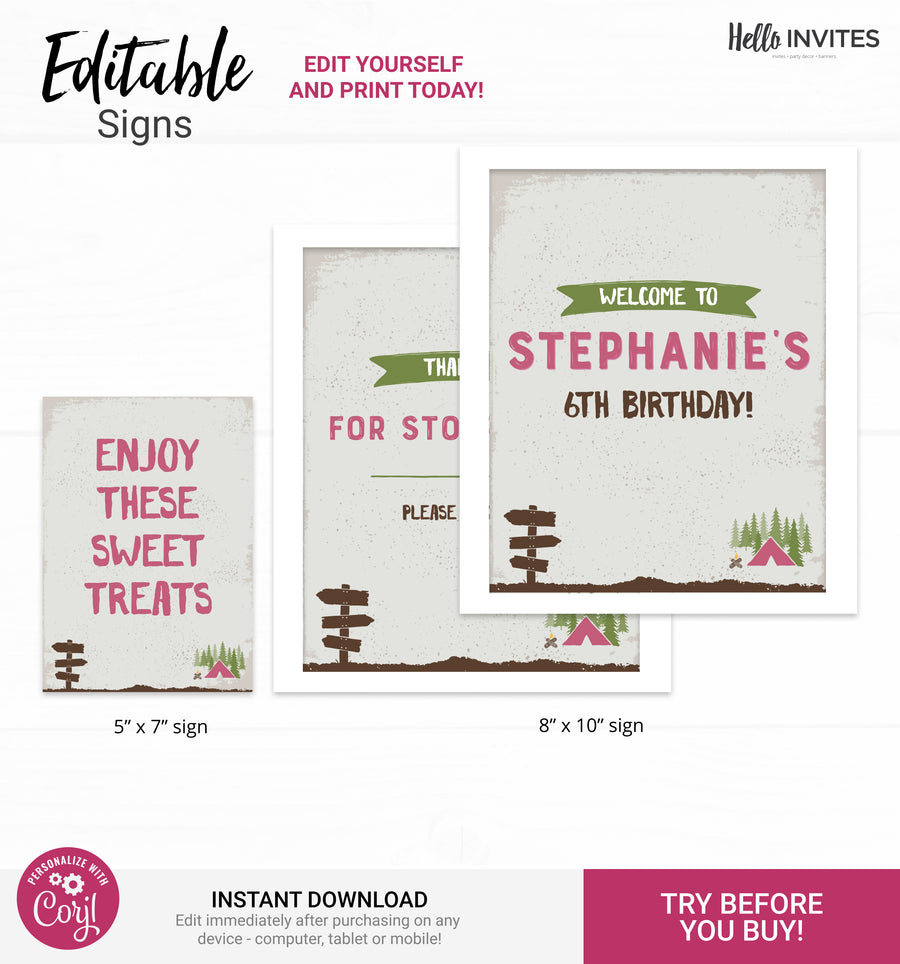Camp Editable Custom Party Signs Printable DIY Decorations