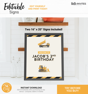 Construction Editable Custom Party Signs Printable DIY Decorations