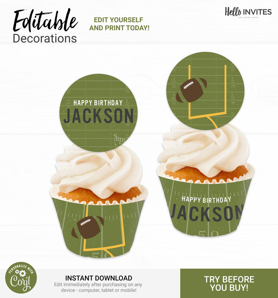 Football Cupcake Topper and Wrapper Birthday DIY Party Printable Decorations