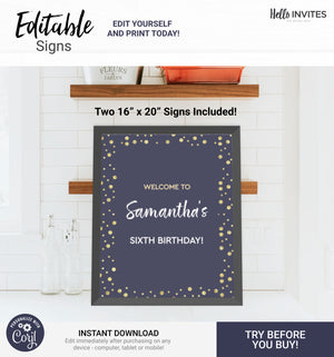 Glam Editable Custom Party Signs Printable DIY Decorations