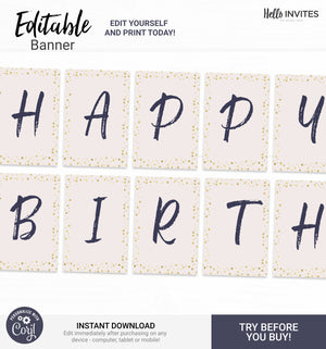 Glam Editable Happy Birthday Banner Printable DIY Decorations