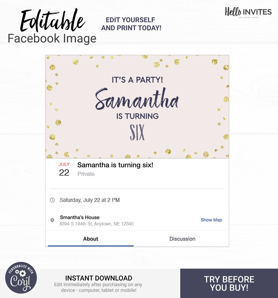 Glam Birthday DIY Facebook Event Image Invitation