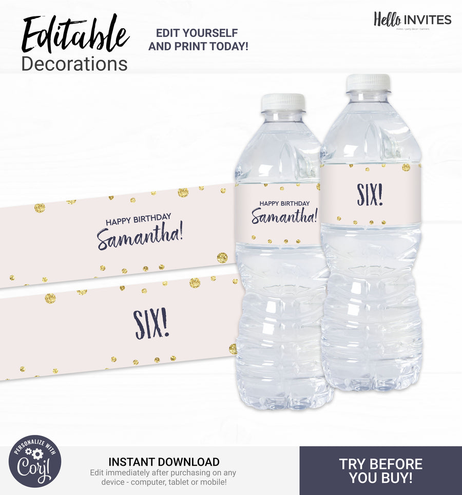 Glam Editable Water Bottle Wrapper Printable DIY Decorations