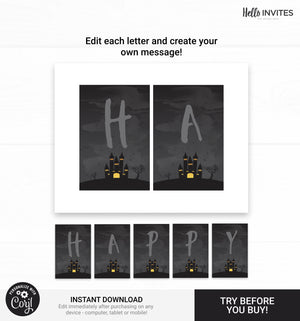 Halloween Editable Happy Birthday Banner Printable DIY Decorations
