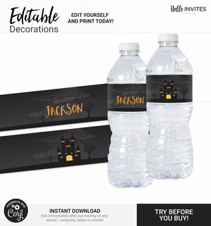 Halloween Editable Water Bottle Wrapper Printable DIY Decorations