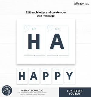 Nautical Editable Happy Birthday Banner Printable DIY Decorations