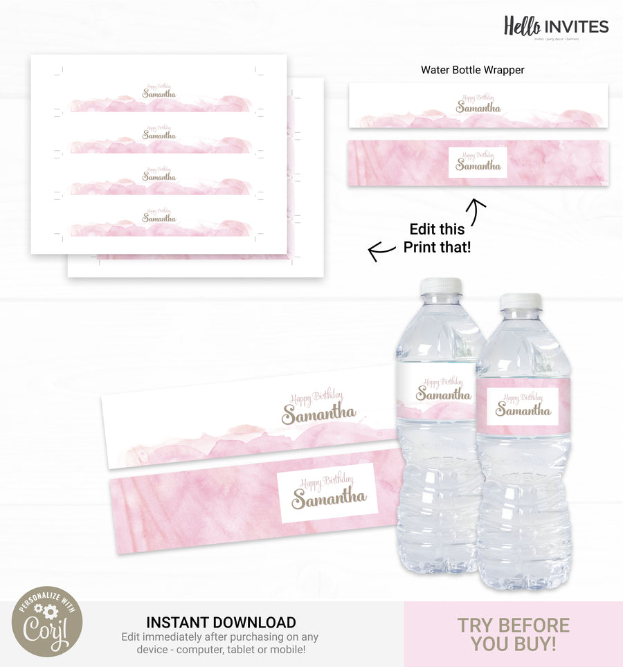 Pink Watercolor Birthday DIY Party Printable Decorations