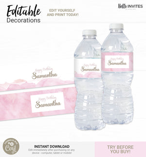 Pink Watercolor Editable Water Bottle Wrapper Printable DIY Decorations