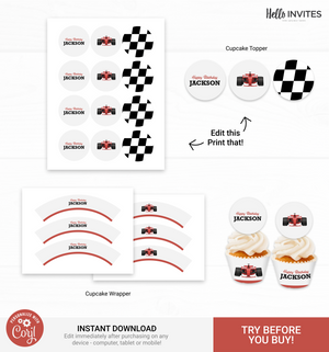 Race Car Cupcake Topper and Wrapper Birthday DIY Party Printable Decorations