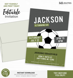 Soccer Birthday DIY Printable Invitation