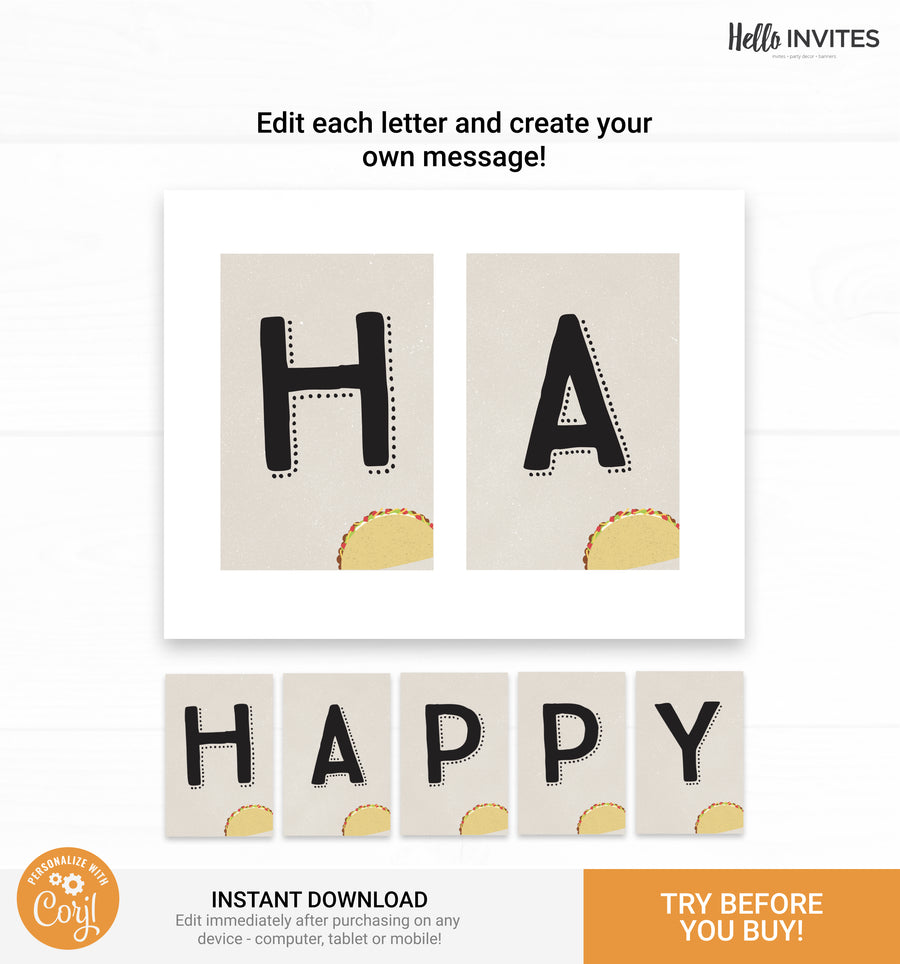 Taco Editable Happy Birthday Banner Printable DIY Decorations