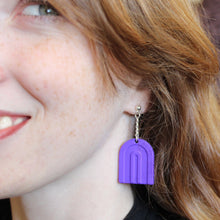 Load image into Gallery viewer, Rainbow 3D Printed Earrings - Matte Purple