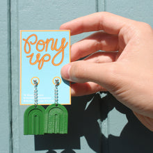 Load image into Gallery viewer, Rainbow 3D Printed Earrings - Matte Green