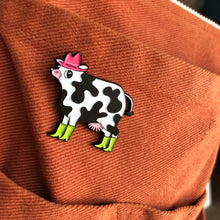 Load image into Gallery viewer, Neon Party Cow Enamel Pin