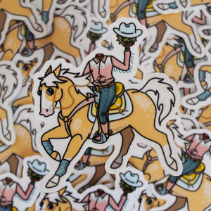 Headless Cowboy Transparent Stickers
