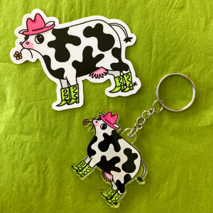 Neon Party Cow Sticker