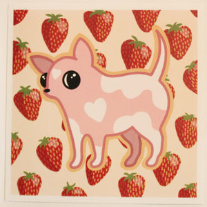 Strawberry Dog 6 x 6 Print