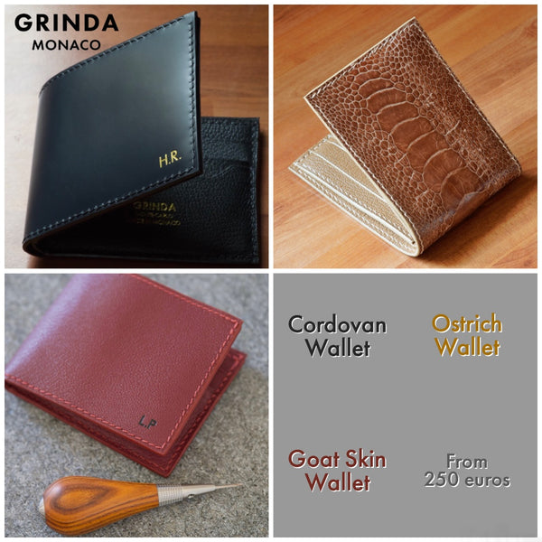 Custom made / Bespoke / Made to order Billfold Bifold Wallets in goat skin, shell cordovan from horween tannery and ostrich leather Handmade in Monaco Monte-Carlo