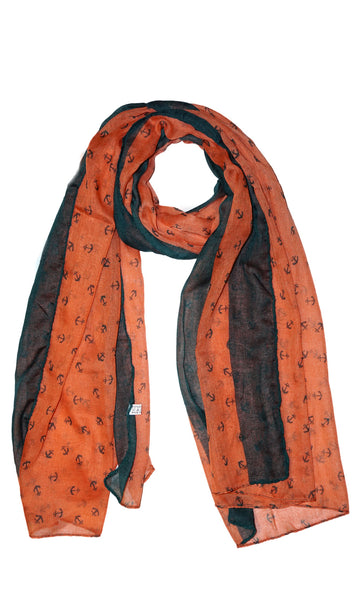 Anchor Hijab Scarf - Salmon