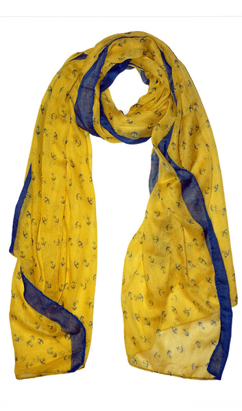 Anchor Hijab Scarf - Yellow