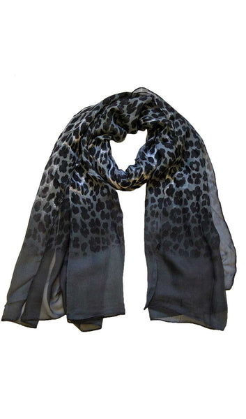 Ombre Panther Hijab Scarf - Black & Gray