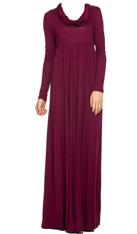 Cowl Neck Long Sleeve Maxi Dress - Burgundy