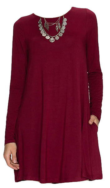 Swing Long Sleeve Dress with Pockets - Burgundy