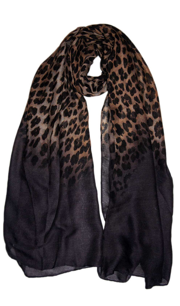 Charcoal Gray Ombre Leopard Print Hijab Scarf