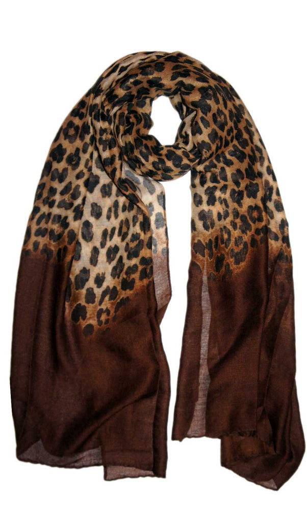 Ombre Leopard Print Hijab Scarf - Chocolate Brown