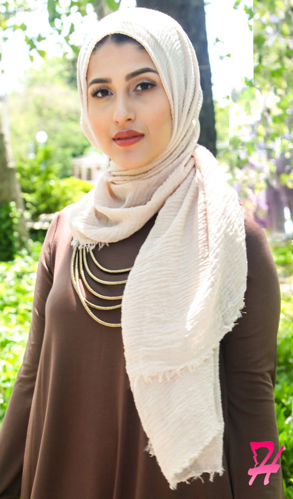 Cotton Cloud Hijab Scarf - Nude