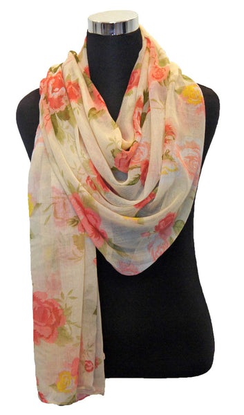 Rose Garden Hijab Scarf - Cream