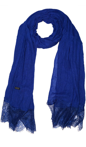 Delicate Lace Edge Hijab Scarf - Blue