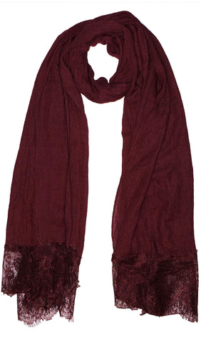Delicate Lace Edge Hijab Scarf - Maroon