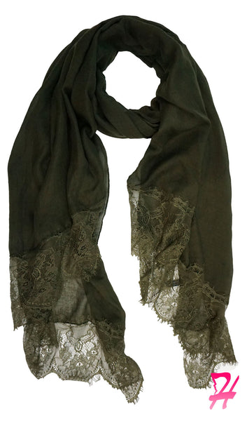 Delicate Lace Edge Hijab Scarf - Olive