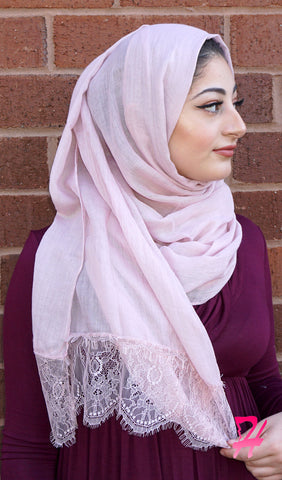 Delicate Lace Edge Hijab Scarf - Powder Pink