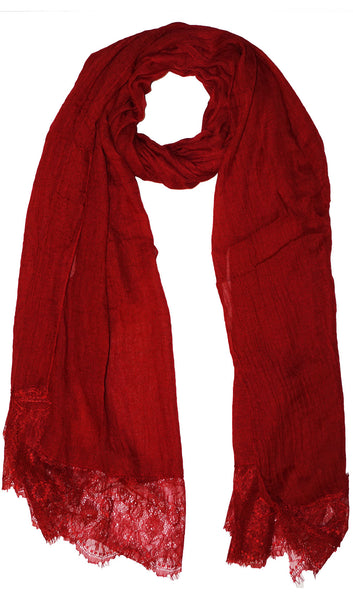 Delicate Lace Edge Hijab Scarf - Red