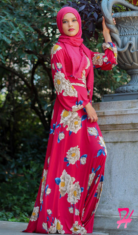 Floral Wrap Long Sleeve Maxi Dress - Burgundy