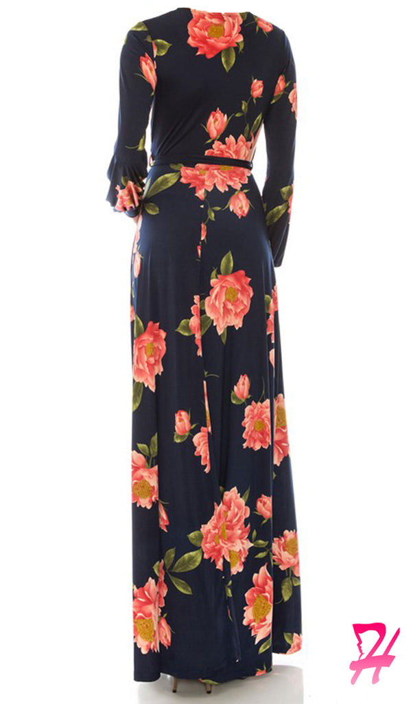 Floral Wrap Long Sleeve Maxi Dress - Navy