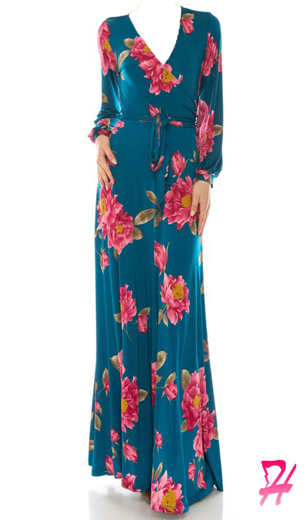 Floral Wrap Long Sleeve Maxi Dress - Teal
